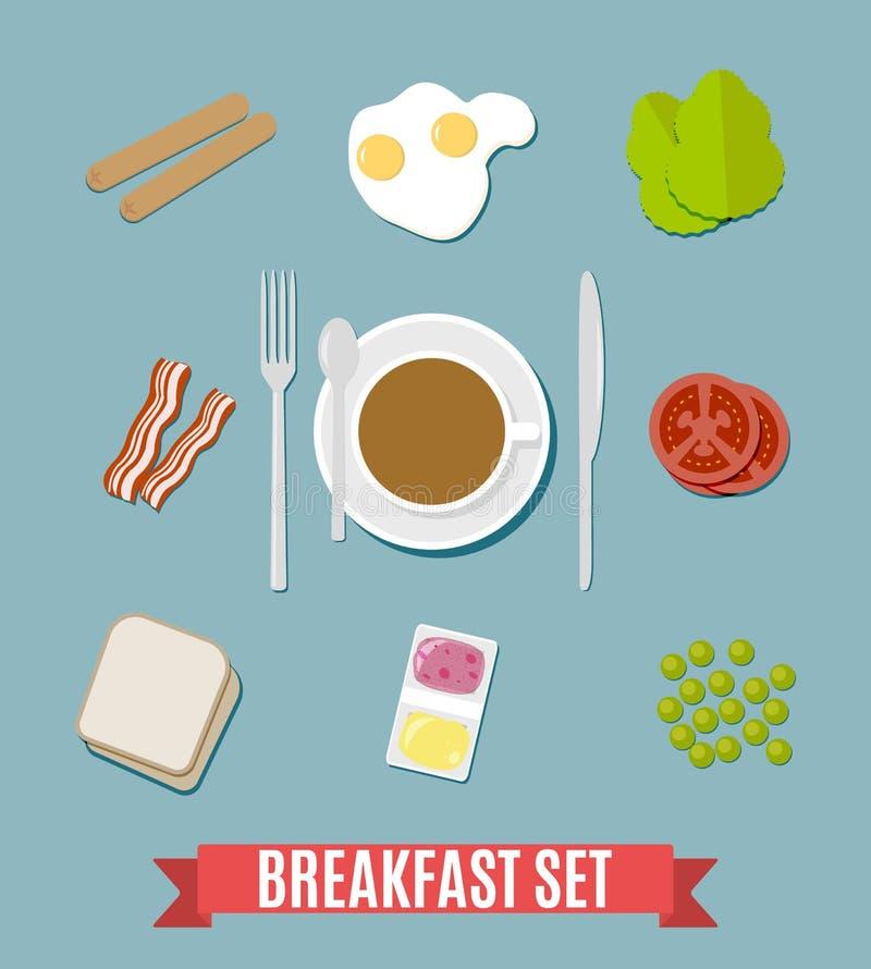 Grupo pequeno do café da manhã ilustração do vetor
