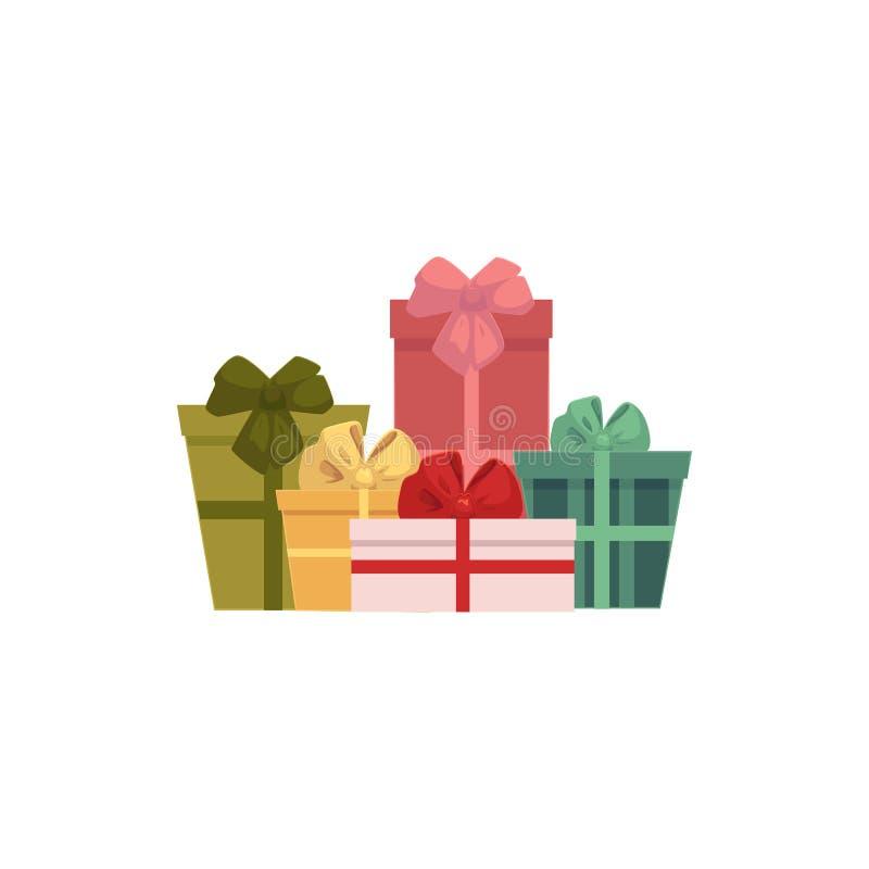 Grupo, pila de regalo, actuales cajas, icono de la Navidad libre illustration