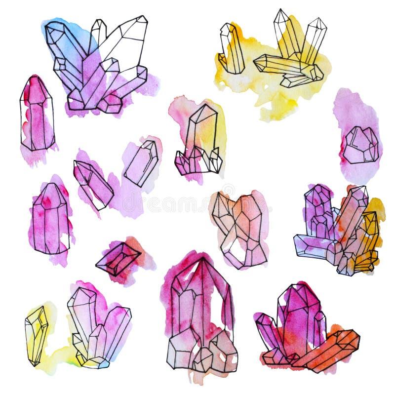 Grupo pintado à mão da aquarela de cristais isolados no fundo branco ilustração royalty free