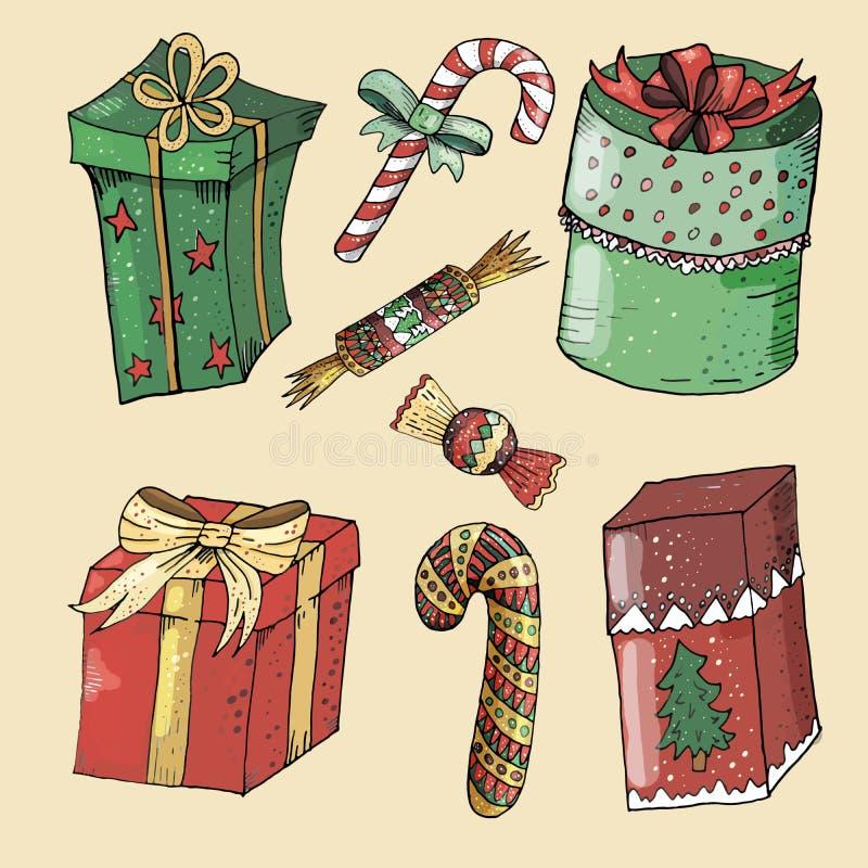 Grupo pintado do ano novo e do Natal ilustração royalty free