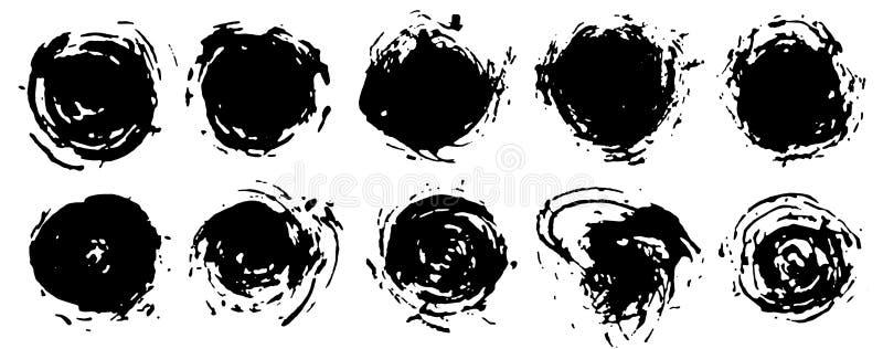 Grupo pintado redondo da beira do quadro de cursos circulares da escova, selos ilustração royalty free