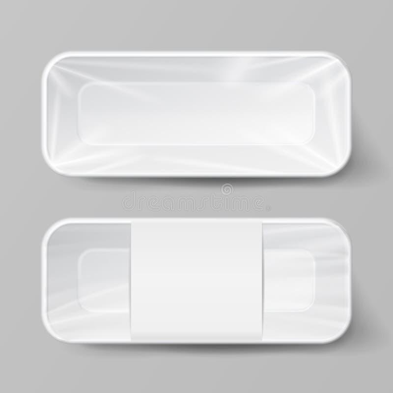 Grupo plástico branco vazio do recipiente de alimento do molde Vector o molde ascendente trocista pronto para seu projeto ilustração royalty free