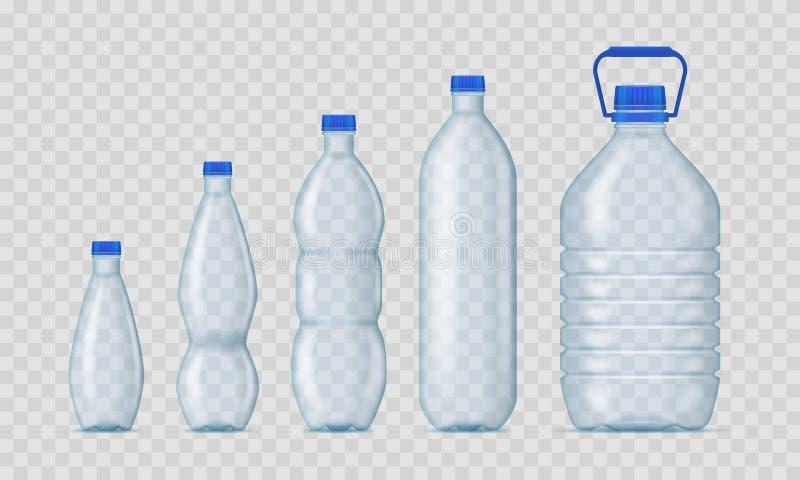 Grupo plástico do modelo do molde das garrafas da placa 3d detalhada realística Vetor ilustração royalty free