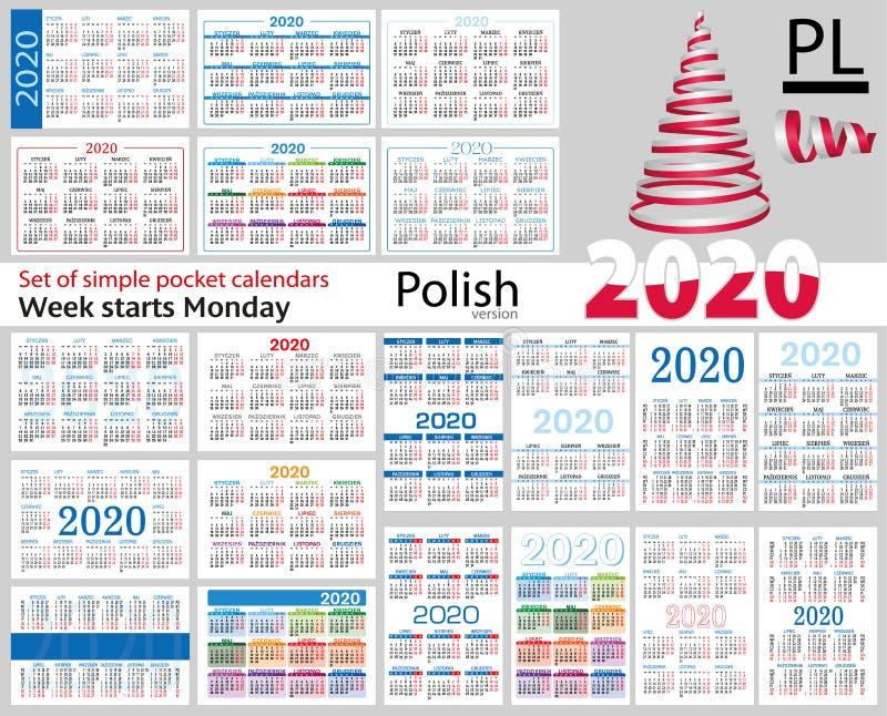 Grupo polonês de calendários do bolso para 2020 ilustração royalty free