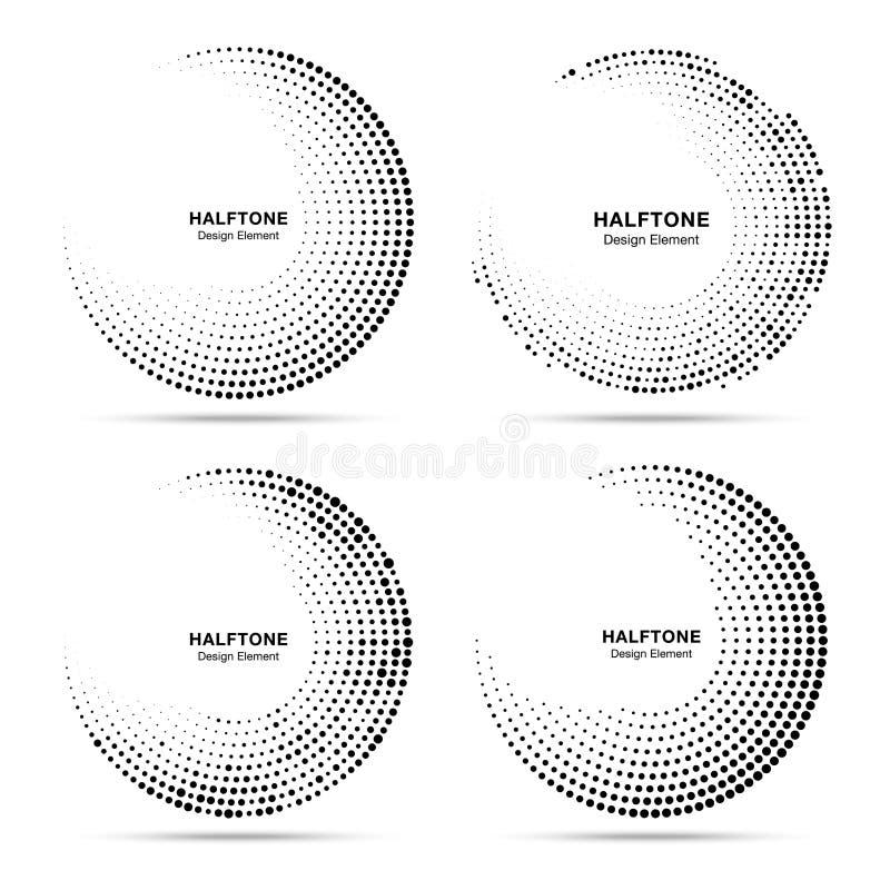 Grupo pontilhado circular de intervalo mínimo dos quadros Pontos do círculo isolados no fundo branco Elemento de intervalo mínimo ilustração royalty free