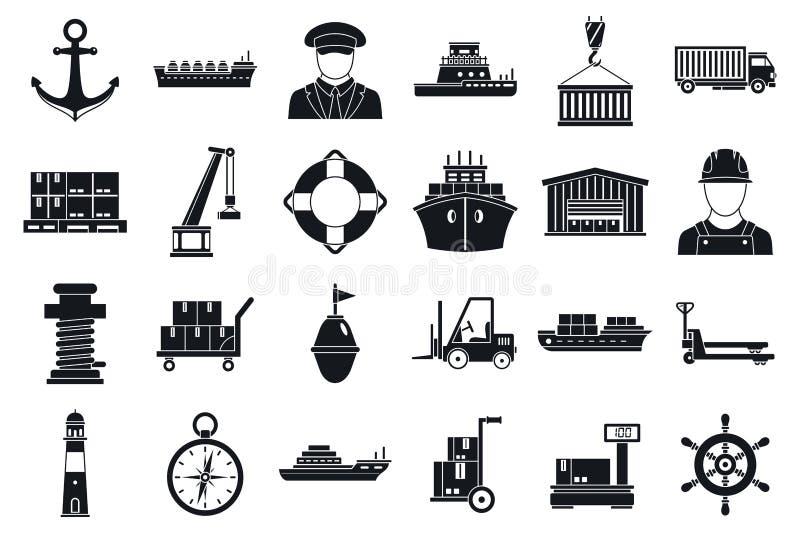 Grupo portuário marinho dos ícones do transporte, estilo simples ilustração stock