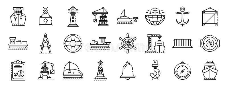 Grupo portuário marinho dos ícones, estilo do esboço ilustração do vetor