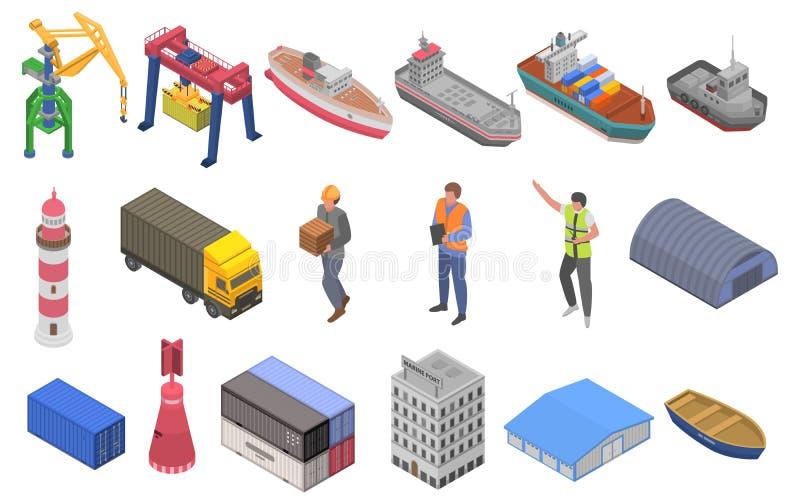 Grupo portuário marinho dos ícones, estilo isométrico ilustração do vetor