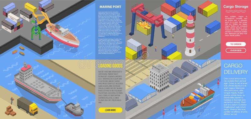 Grupo portuário marinho moderno da bandeira, estilo isométrico ilustração stock
