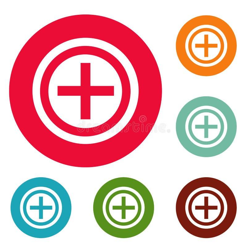 Grupo positivo do círculo dos ícones ilustração stock