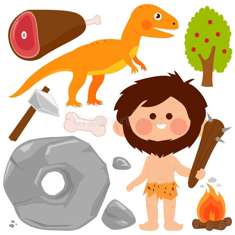 Grupo pré-histórico do vetor do homem das cavernas e do dinossauro ilustração stock