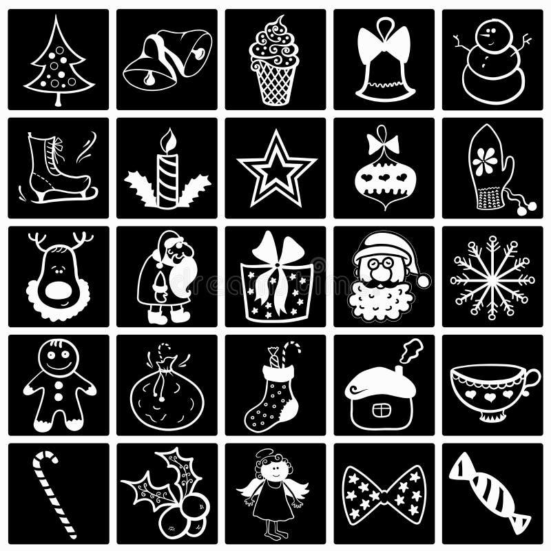 Grupo preto-branco do ícone do Natal ilustração royalty free