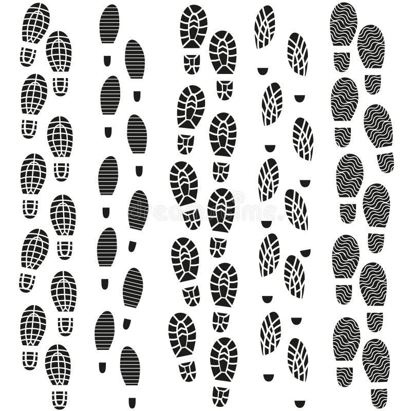 Grupo preto da silhueta das pegadas Vetor ilustração stock