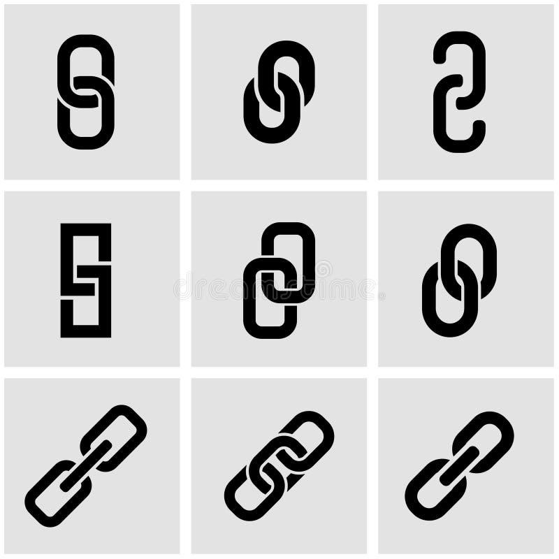 Grupo preto do ícone da corrente ou da relação do vetor ilustração stock