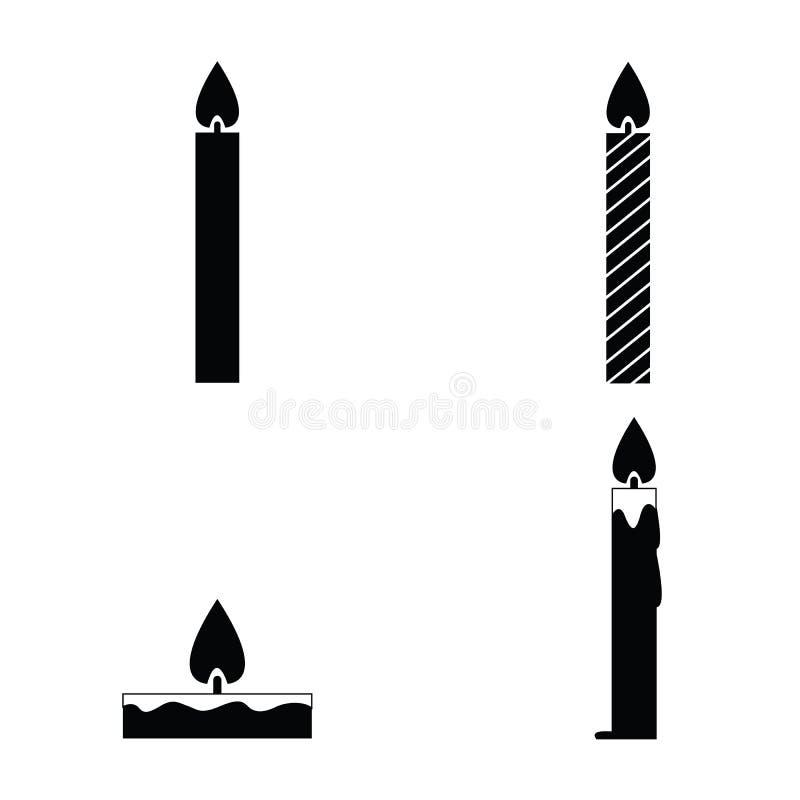 Grupo preto do ícone das velas do vetor ilustração stock