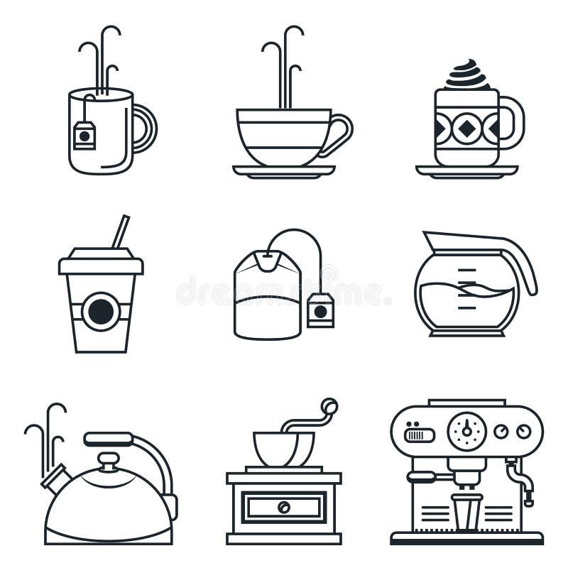 Grupo preto do ícone do lineart Café, chá, copo, dispositivos ilustração royalty free