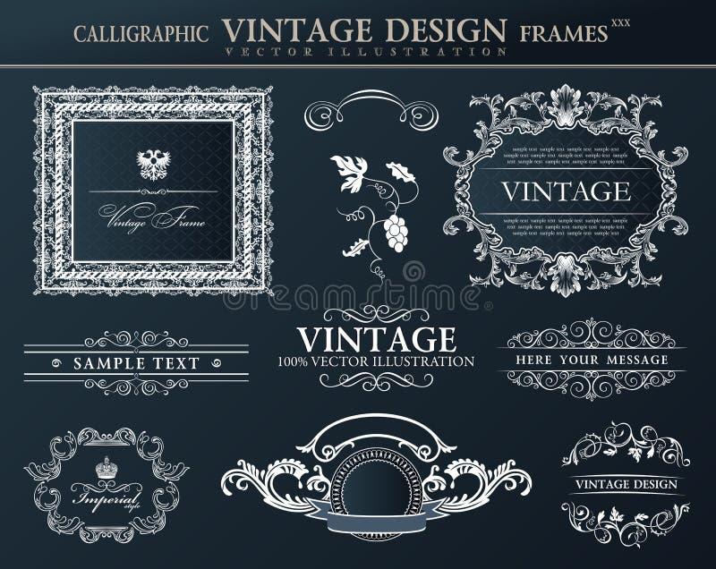 Grupo preto do ornamento dos quadros do vintage Decoração do elemento do vetor ilustração stock