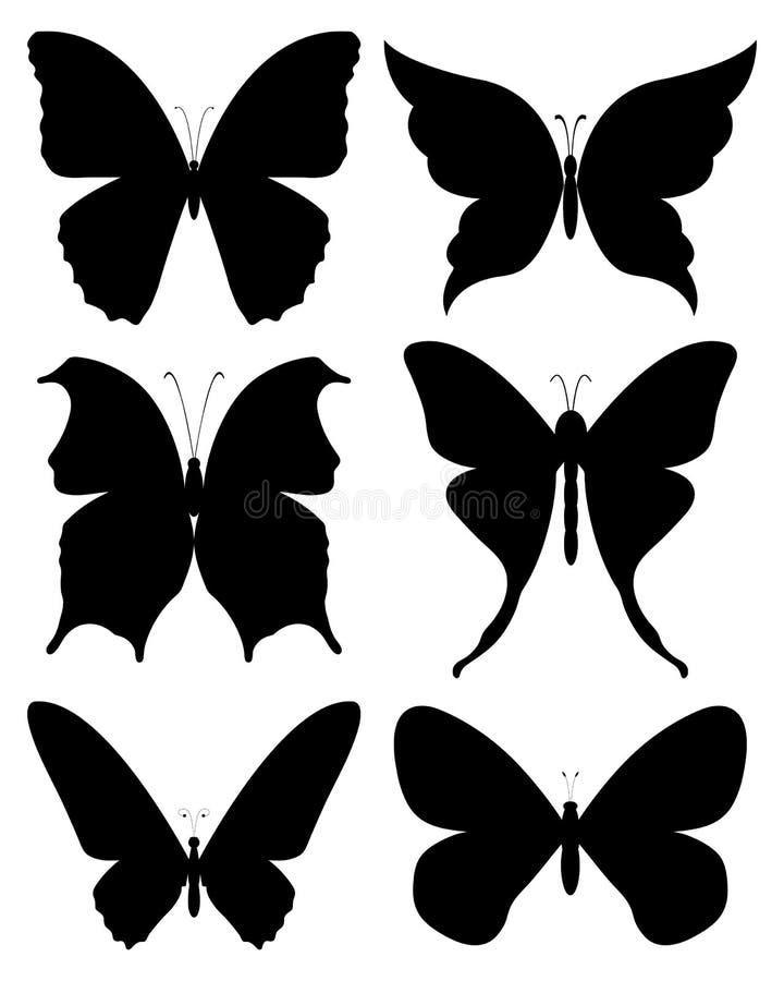 Grupo preto do vetor das silhuetas das borboletas ilustração royalty free