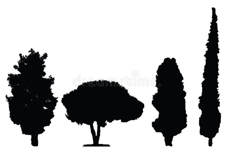 Grupo preto do vetor de quatro árvores da silhueta ilustração stock