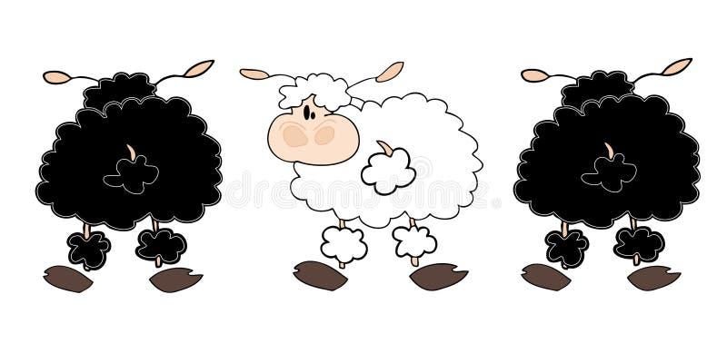 Grupo preto dos sheeps com um branco. ilustração do vetor