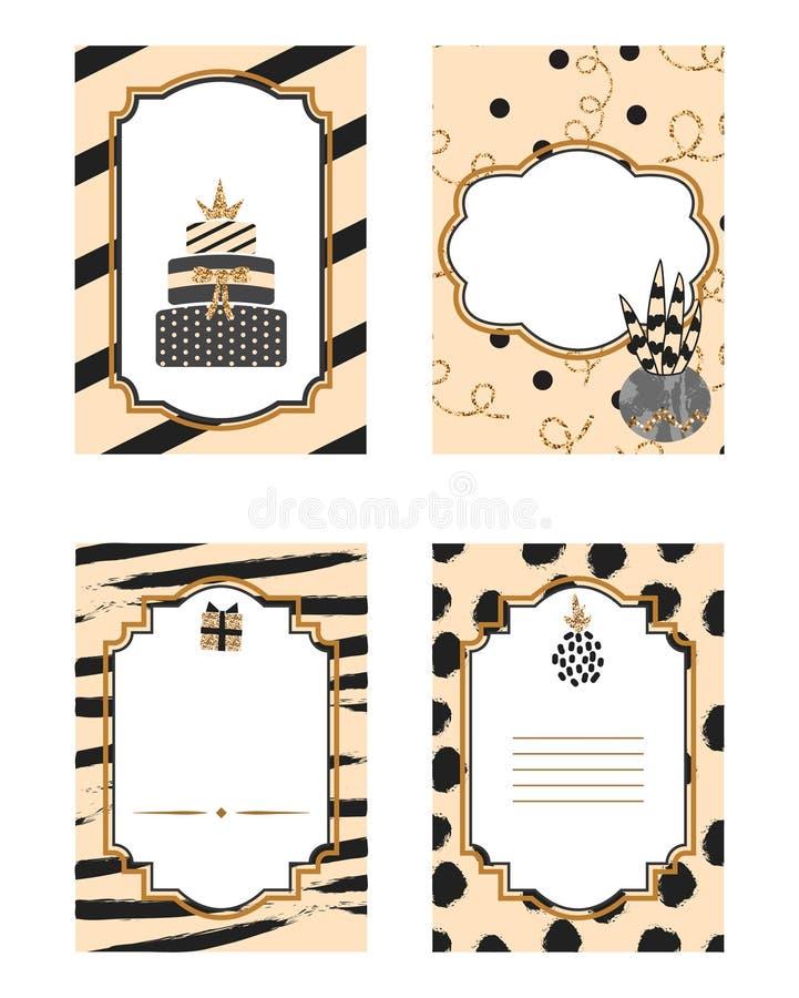 Grupo preto e bege do cartão de aniversário do molde Detalhes do brilho do ouro ilustração do vetor