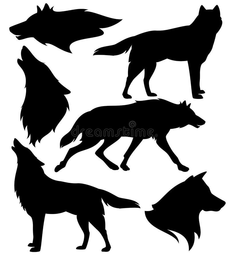 Grupo preto e branco da silhueta do vetor dos lobos selvagens ilustração do vetor