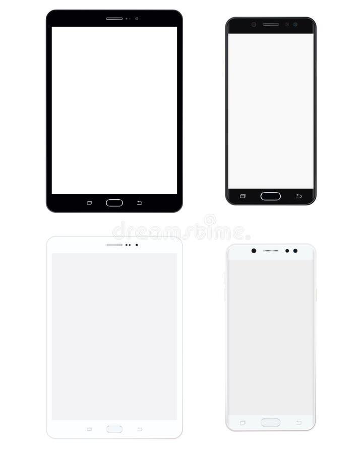 Grupo preto e branco da tabuleta e do smartphone com tela branca Vetor eps10 da tabuleta e do telefone celular ilustração royalty free