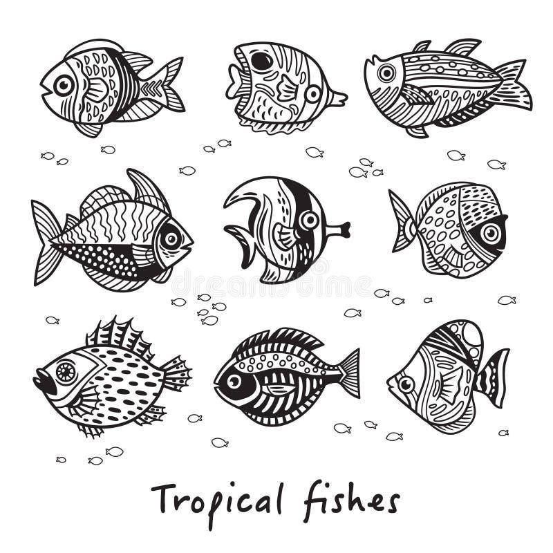 Grupo preto e branco de peixes tropicais Ilustração do vetor ilustração stock