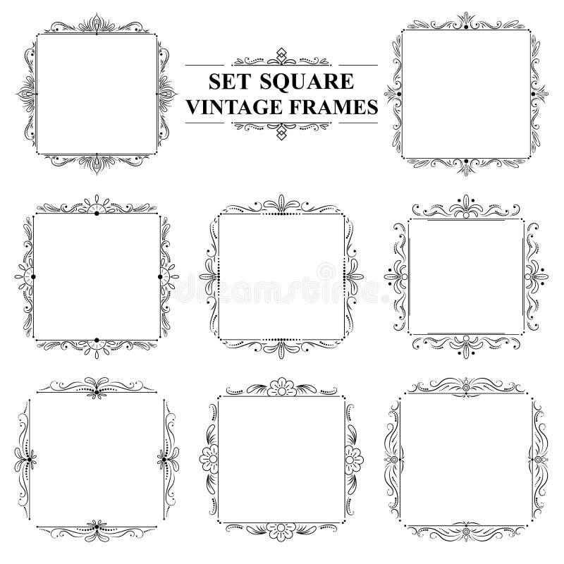 Grupo preto e branco de quadros quadrados elegantes do vintage com ornamento floral ilustração stock