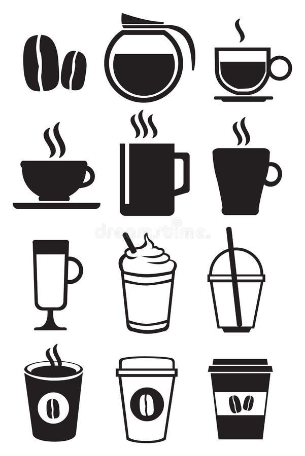 Grupo preto e branco do ícone do vetor das bebidas do café ilustração royalty free