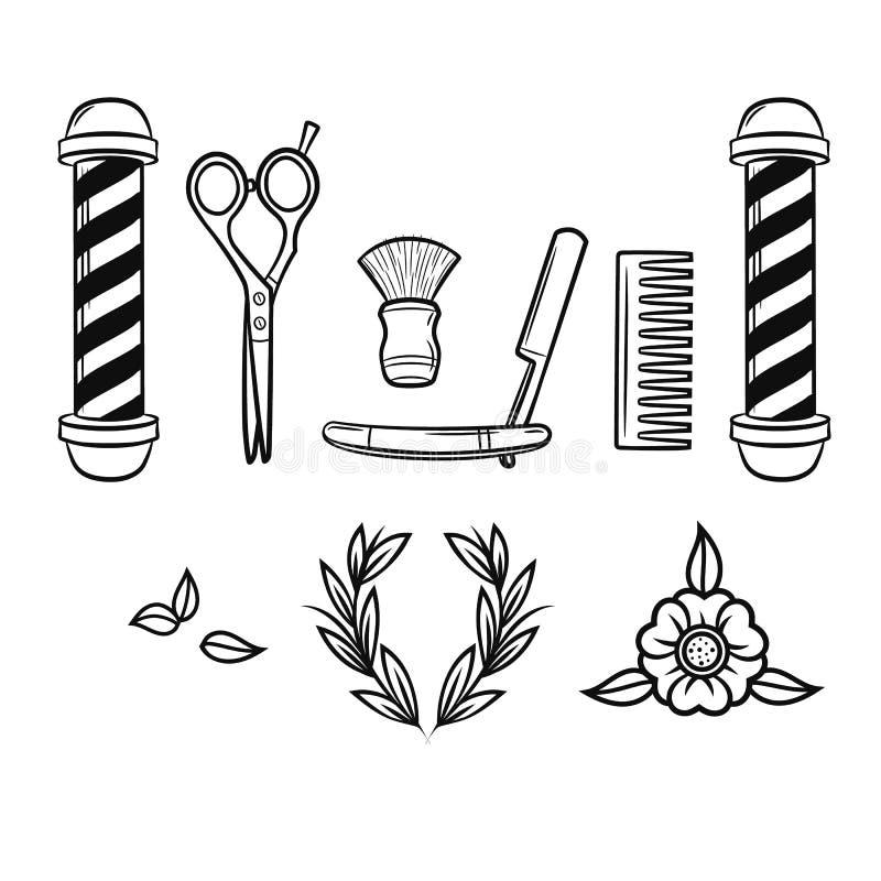 Grupo preto e branco do vetor de ferramentas para a barbearia ilustração stock