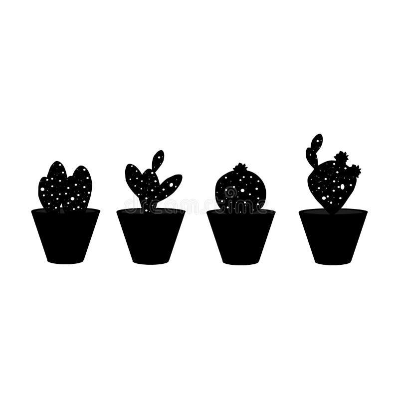 Grupo preto e branco dos cactos imagem de stock