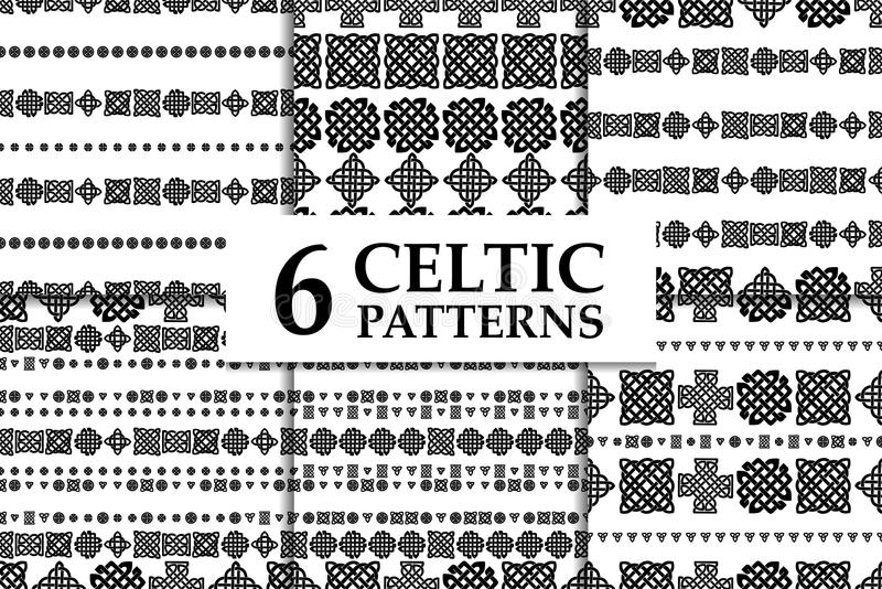 Grupo preto e branco sem emenda do teste padrão do nó celta Seis fundos abstratos étnicos ilustração do vetor