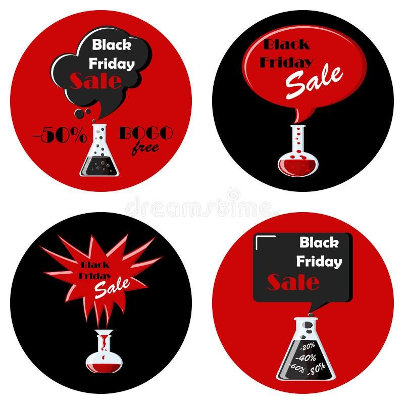 Grupo preto e vermelho de sexta-feira preta de ícones redondos ilustração royalty free