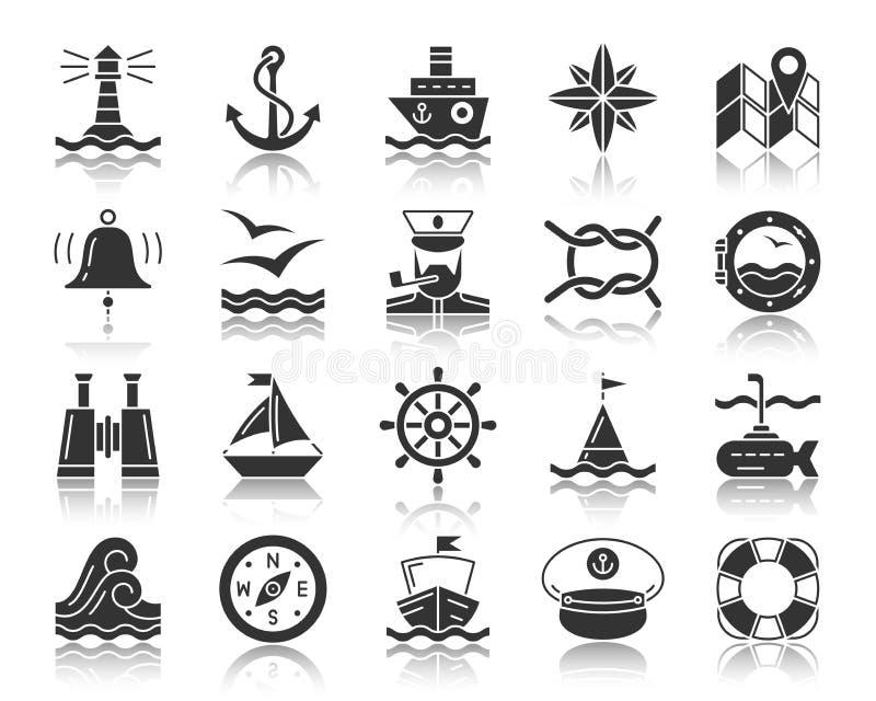 Grupo preto marinho do vetor dos ícones da silhueta ilustração stock