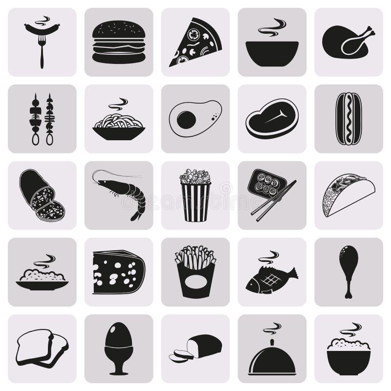 Grupo preto simples do ícone do alimento do estilo ilustração do vetor