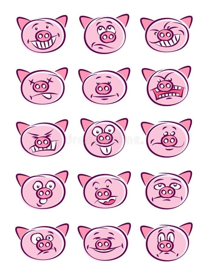 Grupo principal das emoções do porco ilustração royalty free