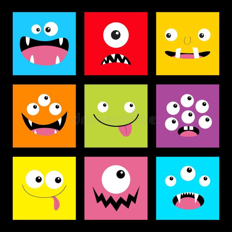 Grupo principal do monstro Cabe?a quadrada Emoção triste de sorriso da cara de Boo Spooky Screaming Três olhos, língua, colmilho  ilustração do vetor