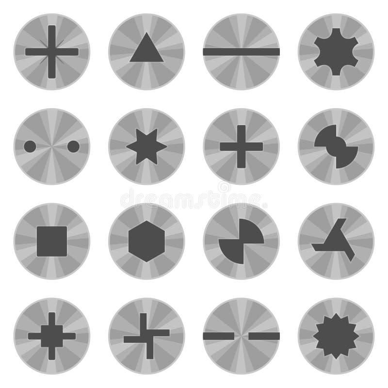 Grupo principal do parafuso e do parafuso isolado no fundo branco Prendedor rosqueado metálico de vista superior, equipamento par ilustração stock