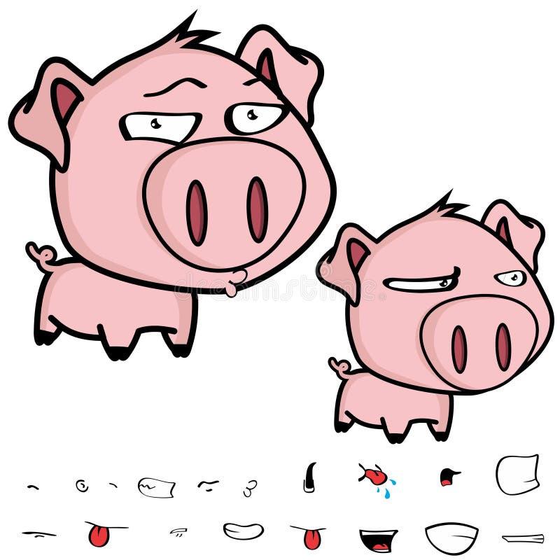 Grupo principal grande pequeno da expressão dos desenhos animados do porco do beijo ilustração stock