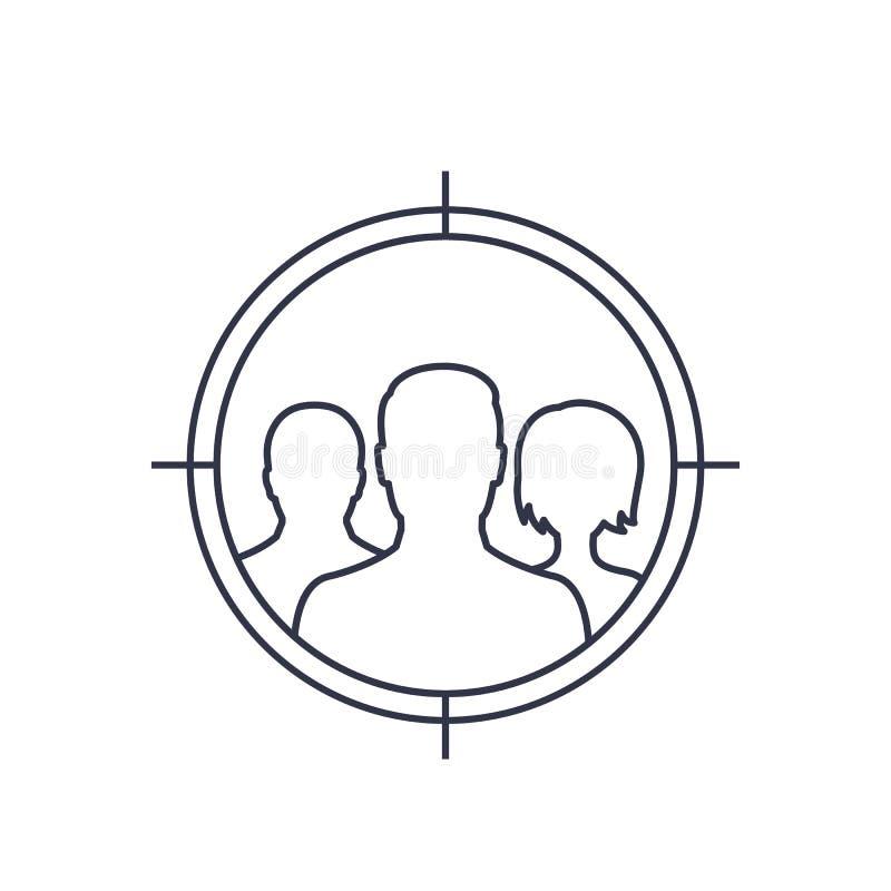 Grupo principal, línea icono del público objetivo libre illustration