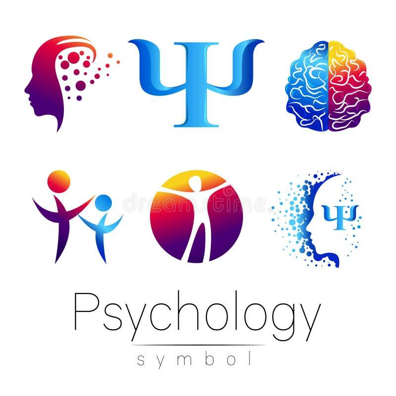 Grupo principal moderno do sinal de psicologia Ser humano do perfil Estilo creativo Símbolo no vetor Conceito de projeto Empresa  ilustração stock