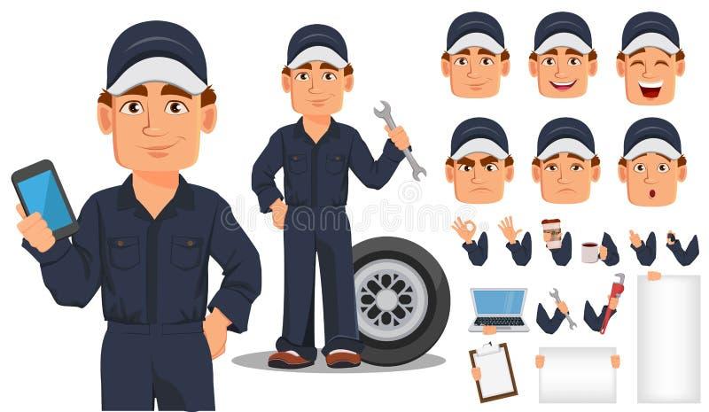 Grupo profissional da criação do personagem de banda desenhada do auto mecânico ilustração do vetor