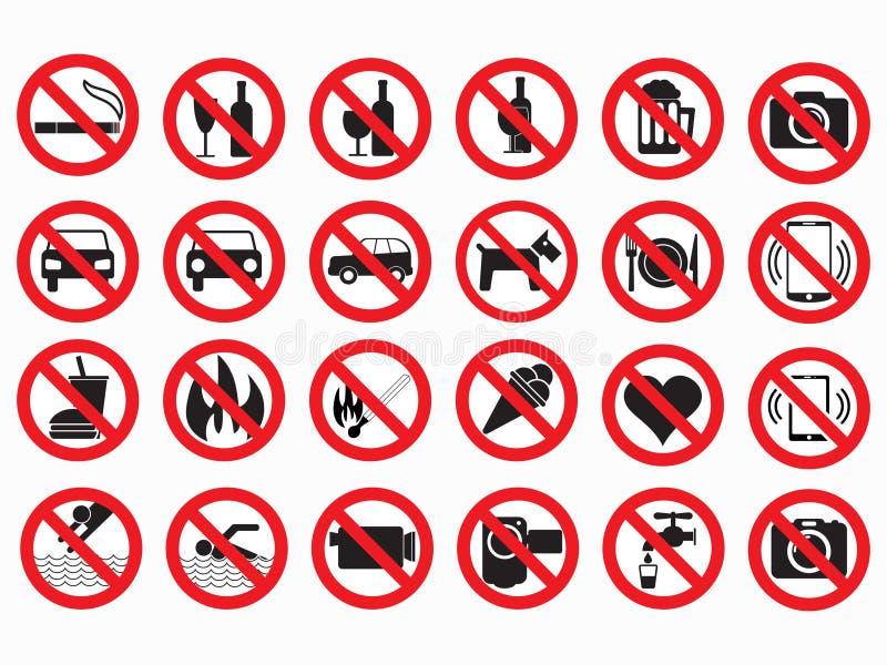 Grupo proibido do vetor dos sinais ilustração royalty free