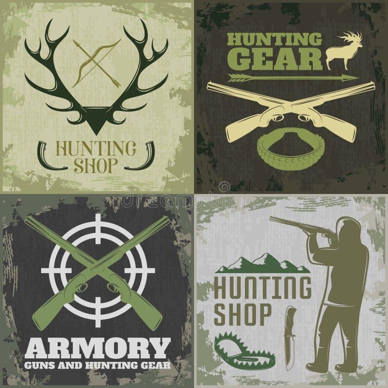 Grupo quadrado do ícone da caça ilustração stock