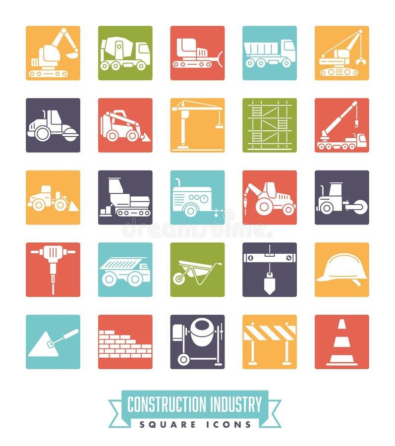 Grupo quadrado do ícone da cor da indústria da construção civil ilustração stock