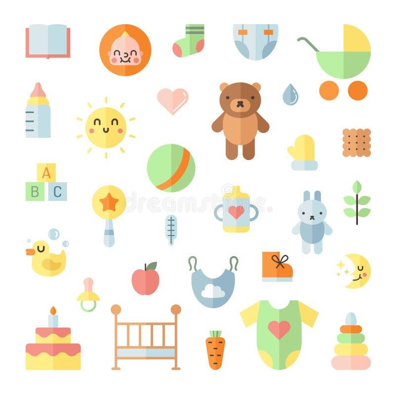 Grupo quadrado do vetor dos ícones lisos grandes bonitos do bebê ilustração royalty free