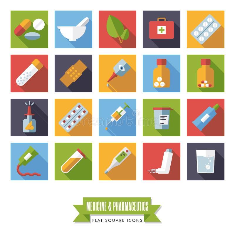 Grupo quadrado do vetor dos ícones do projeto liso do produto farmacêutico e da medicina ilustração do vetor