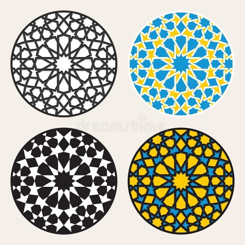Grupo quatro do vetor Rosette Circle Design Elements decorativa islâmica ilustração stock