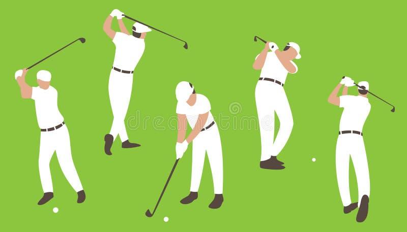 Grupo que golfing, ilustração do vetor, horizontalmente ilustração royalty free